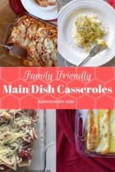 4 pictures in a collage of main dish casserole recipes