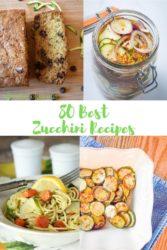 Collage photo of 4 zucchini recipes.