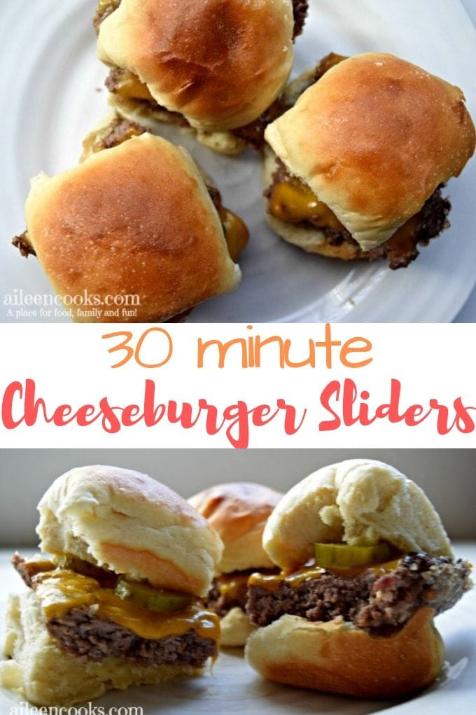 Collage photo of cheeseburger sliders on a white plate.
