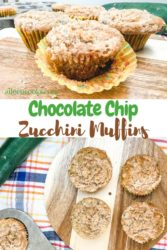 A collage photo featuring two different images of zucchini muffins.