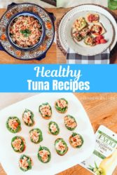 A collage photo of healthy tuna recipes.