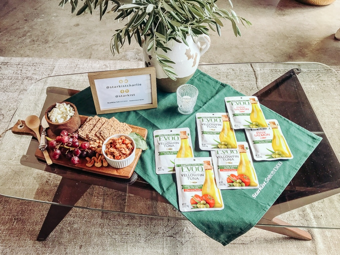 A coffee table filled with healthy tuna recipes.