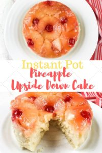 A collage photo of pressure cooker pineapple upside down cake with one picture of the whole cake and one picture of the cake with a slice cut out of it.