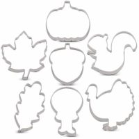 LILIAO Fall Thanksgiving Cookie Cutter Set - 7 Piece - Pumpkin, Turkey, Maple Leaf, Oak Leaf, Turkey Leg, Squirrel and Acorn Biscuit Fondant Cutters - Stainless Steel