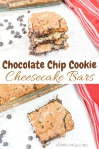 A collage photo showing two pictures of chocolate chip cookie cheesecake bars.