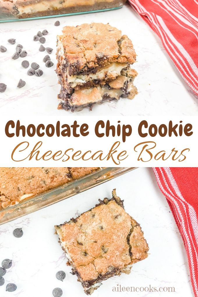 These chocolate chip cookie cheesecake bars taste just like heaven! They are made with homemade chocolate chip cookie dough and a creamy and perfectly sweet chocolate cheesecake filling. If you are looking for a cheesecake bar that is going to knock your socks off, this is the cookie bar recipe for you!
