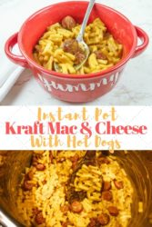 Collage photo of instant pot Kraft macaroni and cheese.