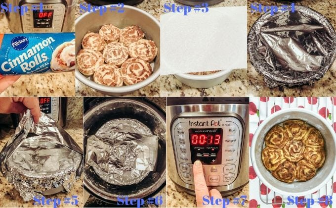 Step-by-step images showing how to make pillsbury cinnamon rolls in the instant pot pressure cooker.