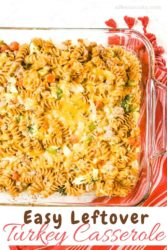 A glass casserole dish with ground turkey casserole.
