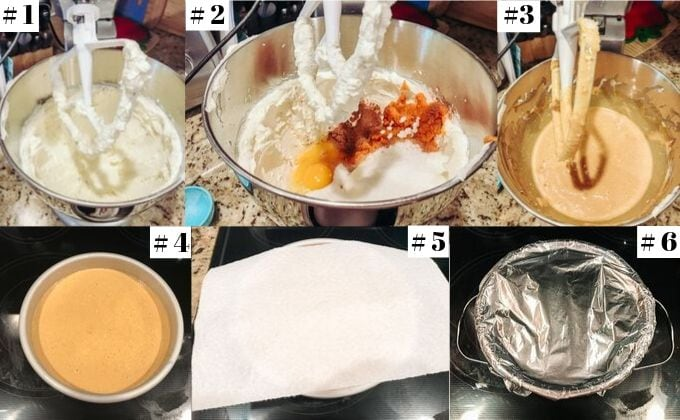 Step-by-step photos showing how to make instant pot pumpkin cheesecake.
