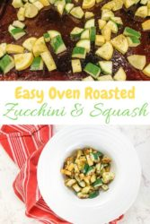 Collage photo of a cookie sheet of zucchini and squash over a bowl of the roasted zucchini and squash.