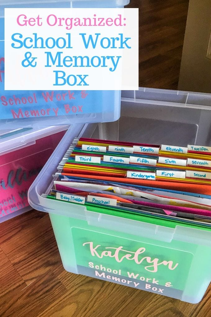 "A school memory box with the lid off and the words ""Get Organized: school memories box"""