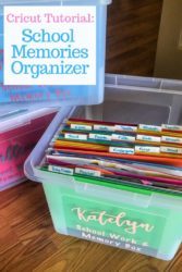 "A school memory box with the lid off and the words ""Cricut tutorial: school memories box"""