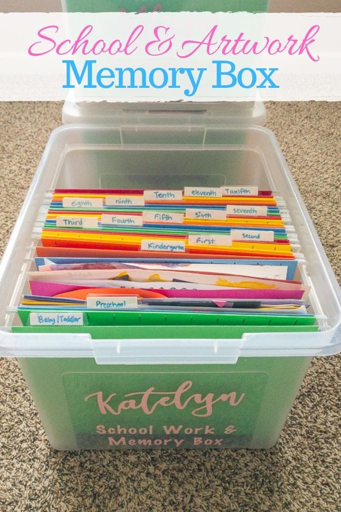 A plastic file folder box made into a school memory box.