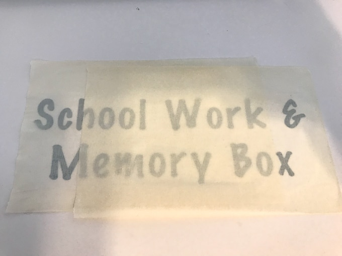 Cricut vinyl with transfer tape on top for a school memory box label.