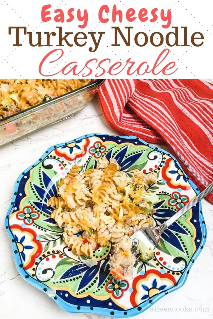 We are sharing our favorite turkey noodle casserole recipe with you today! You will find directions included for both leftover turkey casserole and ground turkey casserole in this post! We hope you enjoy serving this cheesy turkey casserole to your family. We sure did!