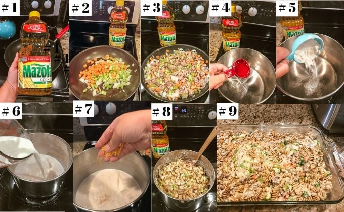 Step-by-step photos demonstrating the process of making ground turkey casserole.