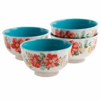 "The Pioneer Woman Vintage Floral 6"" Footed Bowl Set, Set of 4"
