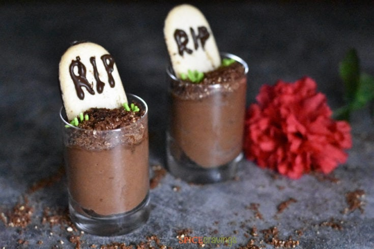 Easy Chocolate Mousse Graveyards (Eggless) | Halloween Desserts