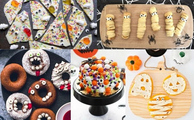 Collage photo of 5 halloween treats for kids.