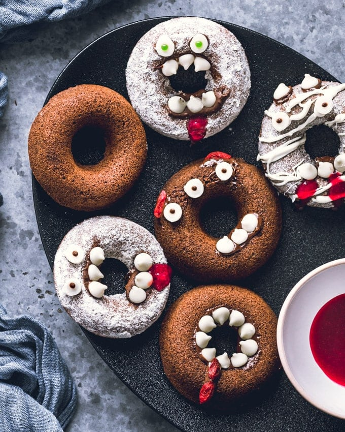 Healthy Baked Halloween Donuts