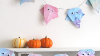 NOT SO SPOOKY DIY PASTEL ORIGAMI GHOST GARLAND.