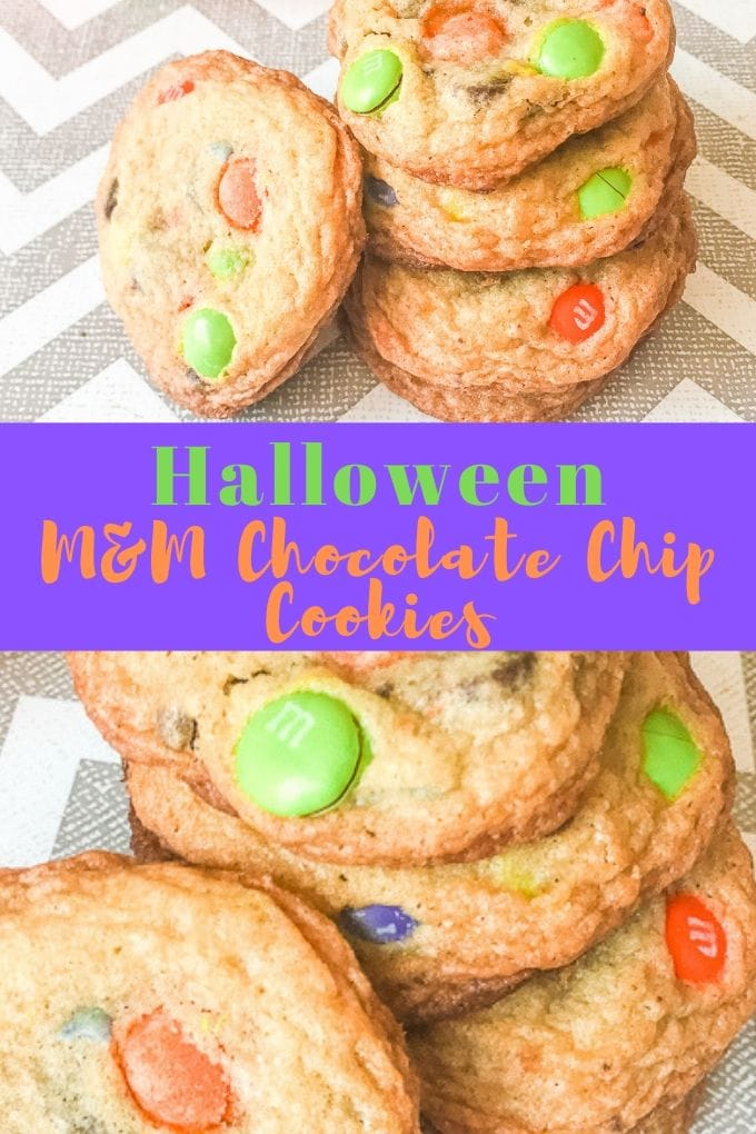 """A collage photo of halloween chocolate chip cookies with the words """"halloween M&M chocolate chip cookies"""" in green and orange writing."""