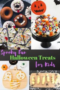Collage photo of halloween treats for kids including quesadillas, donuts, and cake.