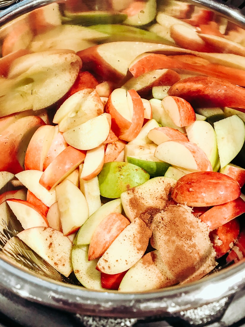 Apples, spices, brown sugar, and water inside instant pot,