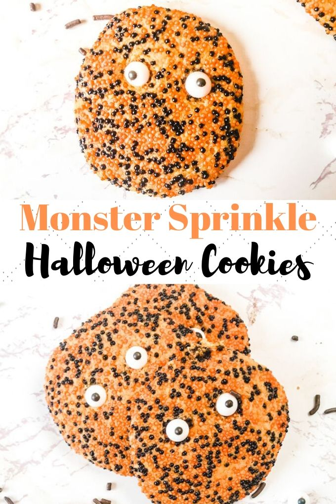 Whip up this festive halloween cookie recipe today! They are a chewy sugar cookie dyed orange and topped with halloween sprinkles and fun candy eyes.