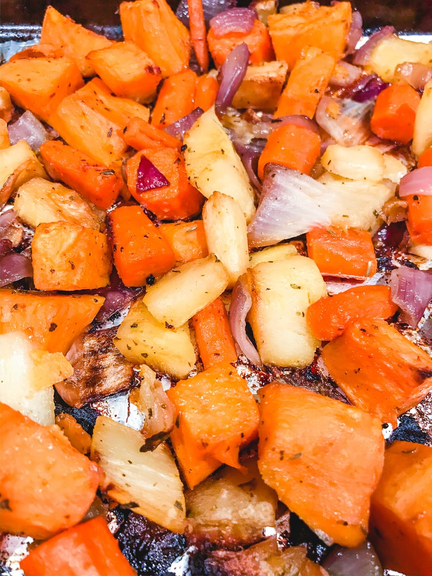 Close up of roasted root vegetables recipe.