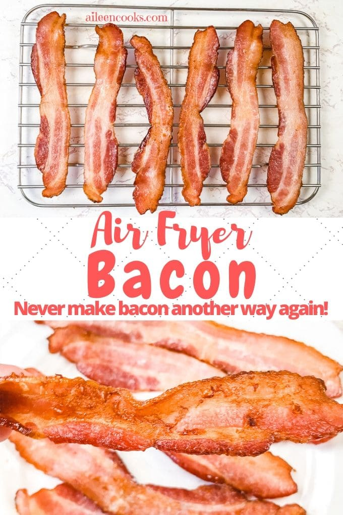 Collage photo of air fryer bacon.