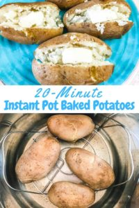 Collage photo of instant pot baked potatoes on a blue plate and inside the instant pot.