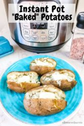 "A plate of baked potatoes and the words ""instant pot baked potatoes"""