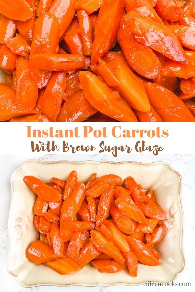 A collage photo of a close up of instant pot carrots and a dish filled with the carrots.