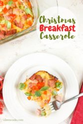 """A plate of casserole and words """"christmas breakfast casserole"""""""