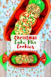 "Collage photo of christmas cookies and words ""Christmas cake mix cookies"""