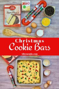 Collage photo of Christmas cookie bar ingredients and prepared batter.
