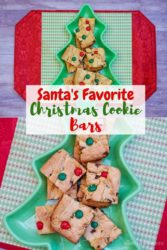 """A collage photo with the words """"Santa's favorite Christmas cookie bars"""""""