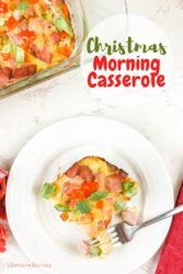 """A plate of breakfast casserole with words """"Christmas morning casserole"""""""