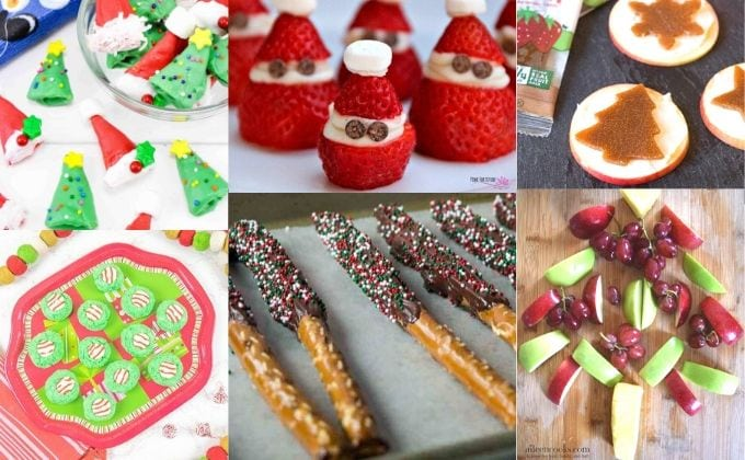 A collage photo of Christmas snacks for kids including strawberry Santas and chocoalte dipped pretzels.