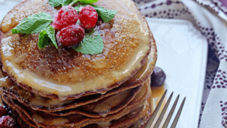 Gingerbread Pancakes Recipe with Eggnog Syrup