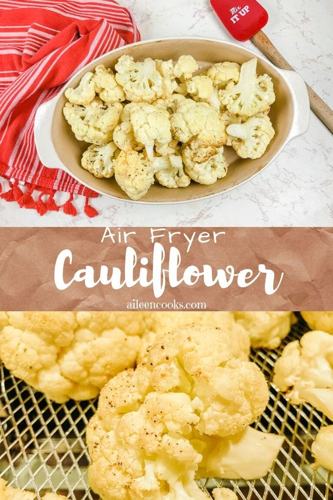 Tasty air fryer cauliflower ready in just 20 minutes! We love this easy air frier roasted cauliflower recipe topped with grated parmesan cheese. Yum!
