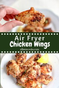 """A collage photo of lemon pepper wings and words """"air fryer chicken wings"""""""