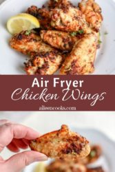 "A collage photo of chicken wings with words ""air fryer chicken wings"""