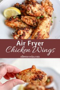 """A collage photo of chicken wings with words """"air fryer chicken wings"""""""