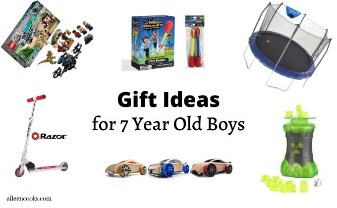 Collage photo of best gifts for 7 year old boys.