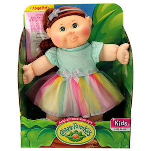 Cabbage Patch Kid with rainbow tutu and brown hair
