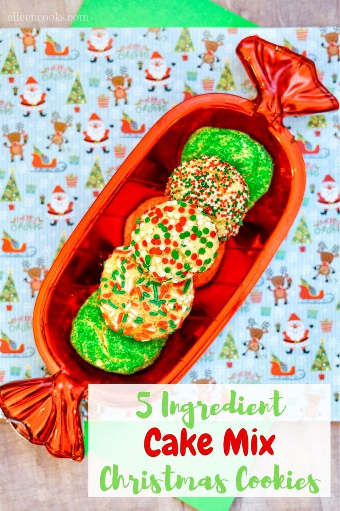 Whip up a batch of these festive christmas cake mix cookies! It takes just 4 ingredients, plus your sprinkles of choice to make these tasty and adorable christmas cookies!
