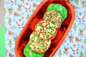 Close up of cookies in festive dish.